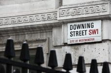 A sign that says Downing Street SW1 City of Westminster, where the Prime Minister lives.