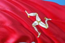 The red Isle of Man flag.
