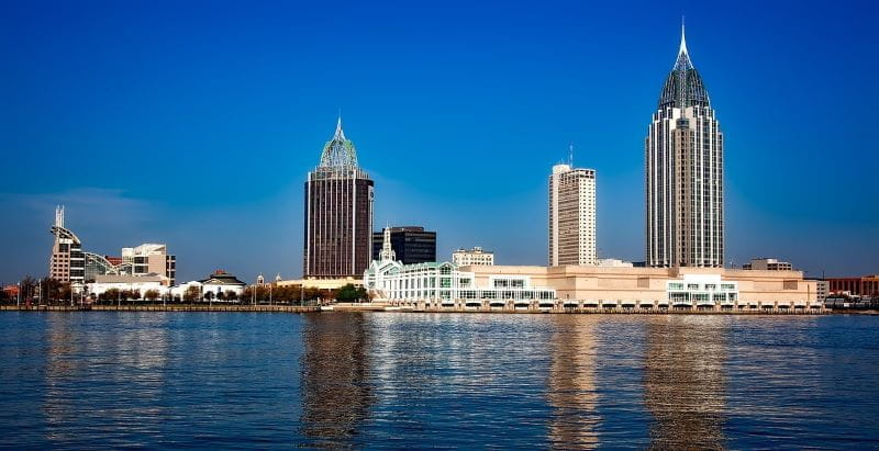 Cakrawala kota Mobile, Alabama.