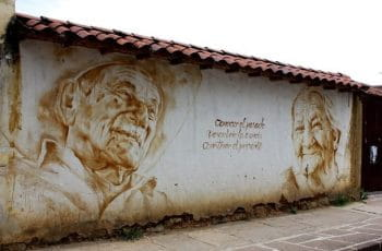 A mural on a white wall in San Gil Santander, Colombia.