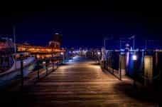 Nighttime at the marina in Norfolk, Virginia.