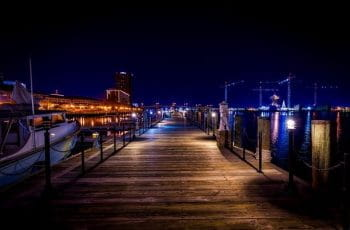 Nighttime at the marina in Norfolk, Virginia.