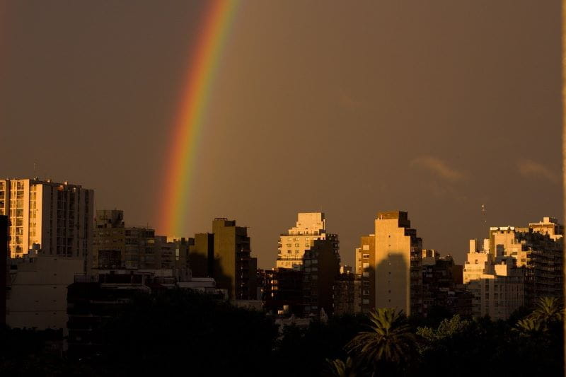 A rainbow over the skyline in Buenos Aires, Argentina.