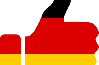 A thumbs up colored in the colors of the German national flag.