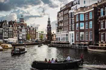 Amsterdam city river boats.