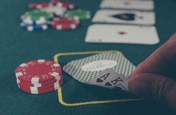 Casino cards during a game of blackjack.