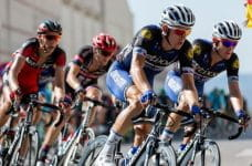 Cyclists racing competitively.