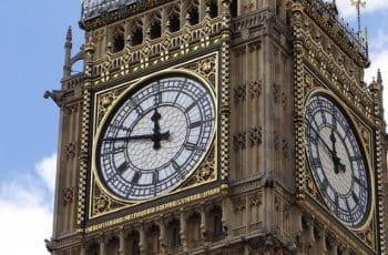 Big Ben clock at the UK government's Houses of Parliament in Westminster, London.