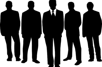 Silhouettes of five men in suits holding executive positions at a company.