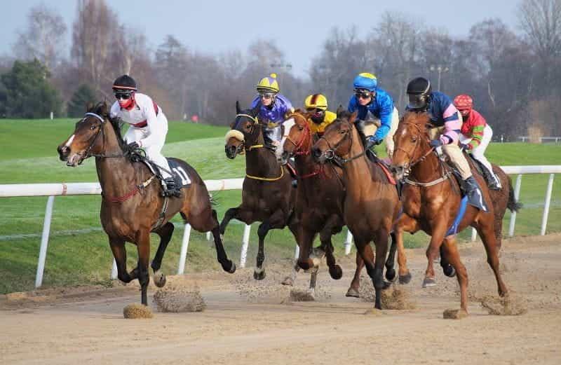 Joki berbaju sutra warna-warni berlomba kuda di sekitar trek.