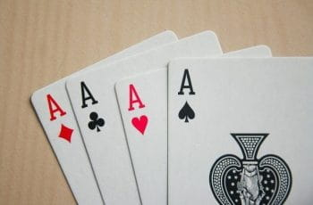 Poker cards on table.