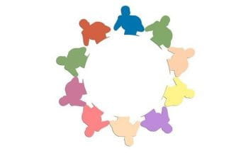 A circle of a silhouetted figure in a boxing pose in several different colors.