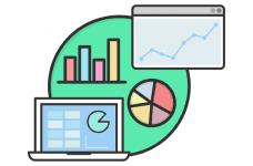 A series of non-descript charts, bar graphs, pie charts and statistics.