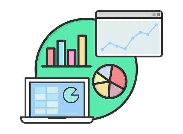 Serangkaian grafik non-deskrip, grafik batang, diagram lingkaran, dan statistik.