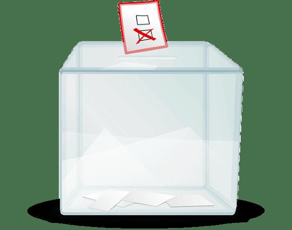 Kotak suara tembus pandang dengan kertas suara bertanda dijatuhkan ke dalamnya.