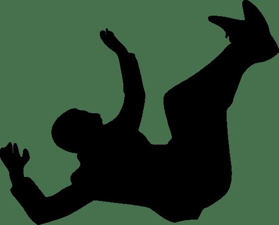 Siluet hitam seorang pria jatuh di udara.