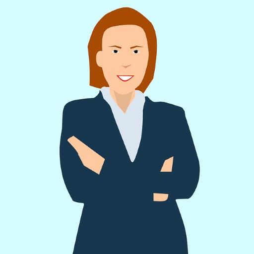 Gambar seorang wanita berdiri dengan tangan disilangkan dengan ekspresi tegas di wajahnya.